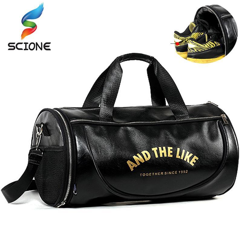 9cff3e226c52 2018 Top PU Outdoor Sports Gym Bag Men Women with Shoes Storage ...