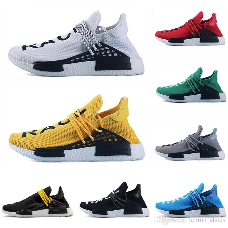 official photos 47217 ed6ee Cheap human race running shoes yellow black red grey white Pharrell  Williams mens trainer women sneaker fashion sports shoe size 5.5-12