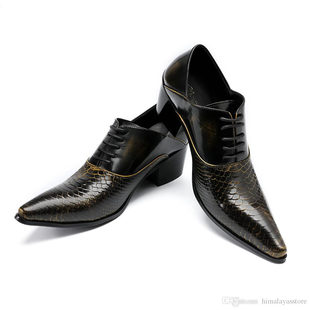 Acheter Mode Rétro Pointe Toe Hommes Chaussures À Lacets À Talons Hauts En Cuir Maroquiné Chaussures Hommes Oxford Chaussures De Mariage Partie De