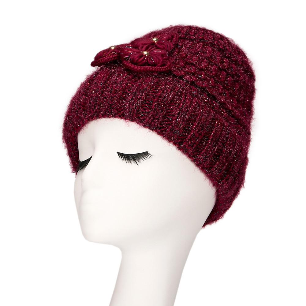 057cc86b248 Autumn Winter Wool Blends Soft Fashion Women S Knitted Wool Hat Ladies  Flowers Thickening Ear Protection Hat Beanies Beanie Hats For Men Black  Beanie From ...