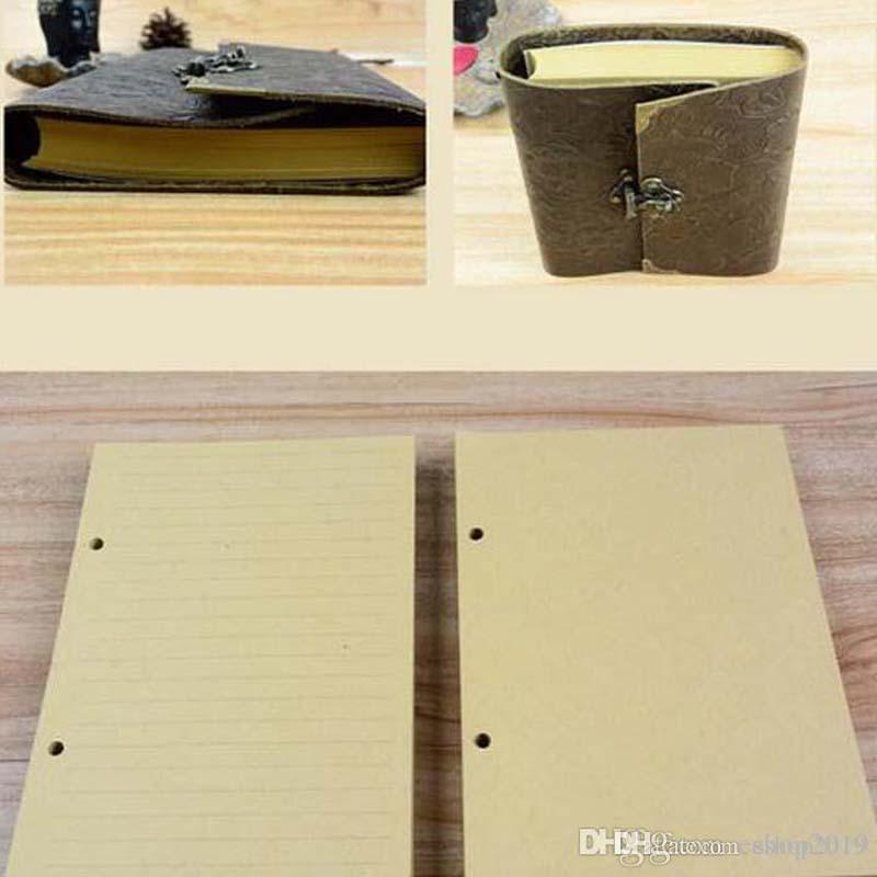 New Wholesale-Silvermoon genuine leather loose leaf vintage cowhide diary with lock notepad notebook Office & School Supplies