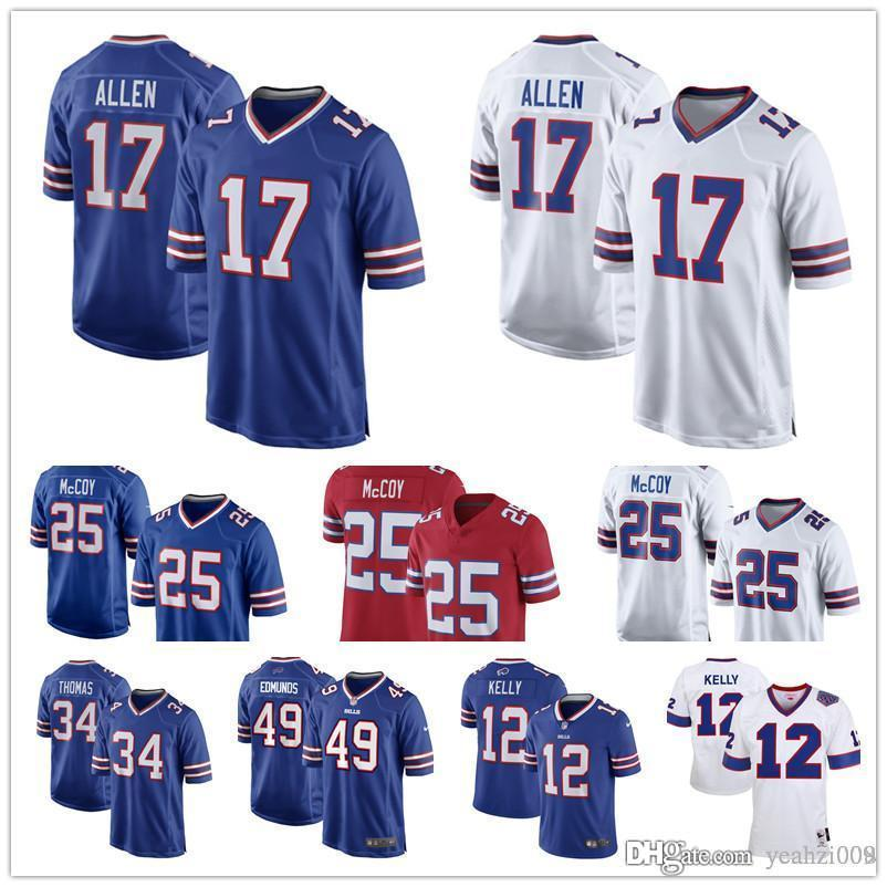 Mans Buffalo Jerseys 17 Josh Allen Bills 25 LeSean McCoy 99 Marcell Dareus  Tremaine Edmunds Jim Kelly Thurman Thomas Jersey Online with  22.68 Piece  on ... 6ef094753