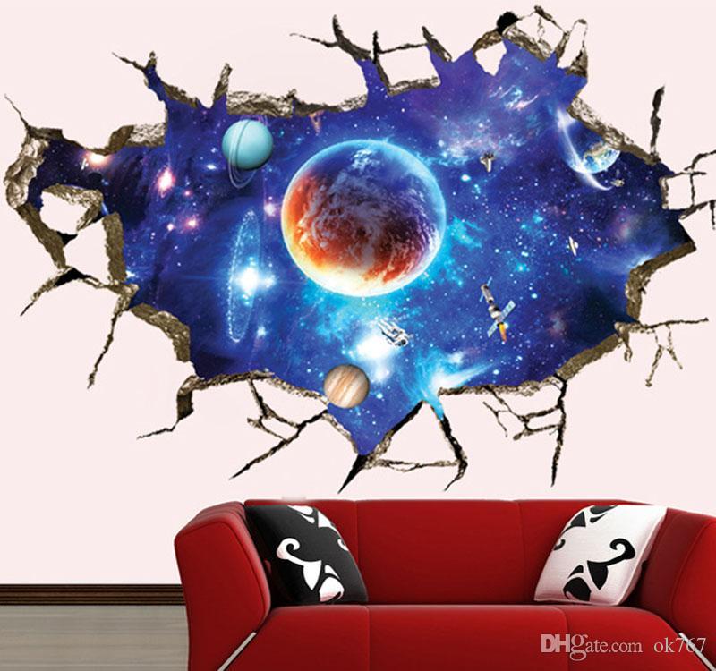 Creative 3D nouvelle fantaisie ciel stickers muraux salon TV mur papier peint fond peinture décorative autocollants PVC