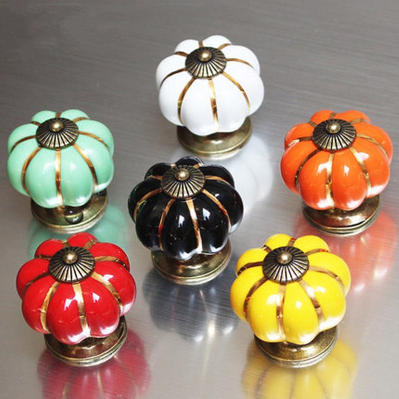 ful Pumpkin Handle Ceramic Door Knobs Cabinet Drawer Cupboard Pulls ...