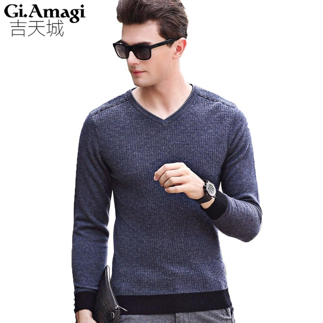 2019 2017 Winter Mens Sweaters And Pullovers Men V Neck Brand Christmas Sweater  Male Outerwear Jumper Knitted Wool Sweaters M XXXL From Fabian05, ... 97abf02b62