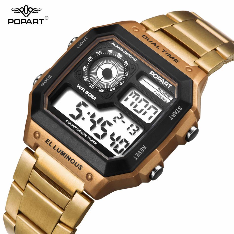 e12b805d5b9 Compre POPART Moda Reloj Digital Hombres Impermeables Relojes Deportivos De  Lujo Reloj Relogio Masculina Hombre De Acero Inoxidable Viejo A  27.94 Del  ...