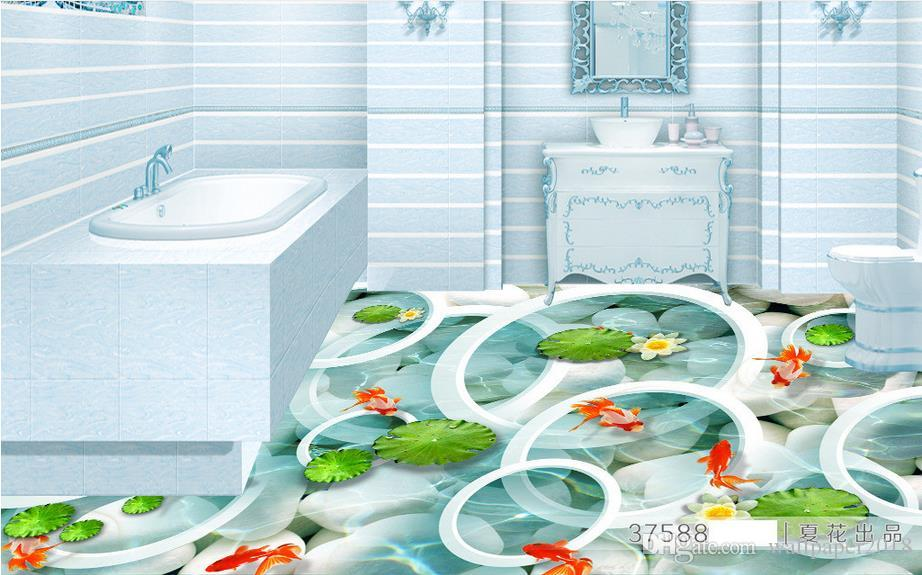papéis de parede da sala de estar moderna Clear river fish pond 3D backdrop papel de parede auto-adesivo