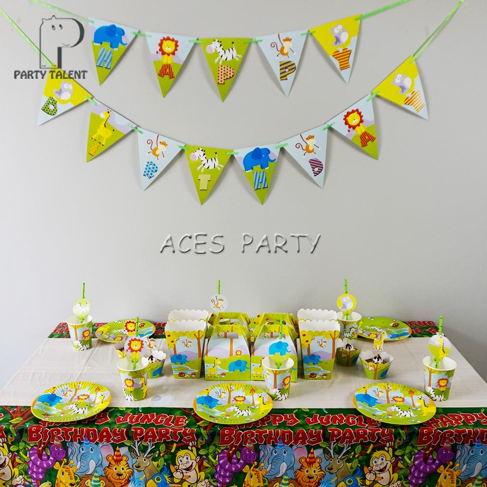98Pcs For 12kids Jungle Safari Animals Theme Birthday Party Supplie Tableware Set Plate Straw Glass Candybox Invitation Ect