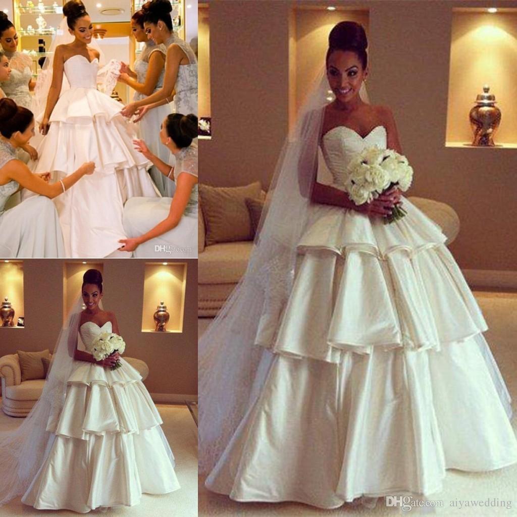 Modern A Line Ball Gown Wedding Dresses With Strapless Sleeveless Ruffles  Satin Modest Women Church Wedding Gowns Bridal Gowns Wedding Dresses  Designer Ball ... 38c1ee972b7a
