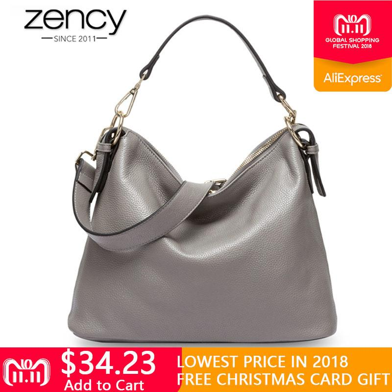 e2fbec98559b 2019 Fashion Zency New Style 100% Genuine Leather Handbag Fashion Grey Women  Shoulder Bag Female Messenger Crossbody Purse Lady Casual Tote Wholesale ...