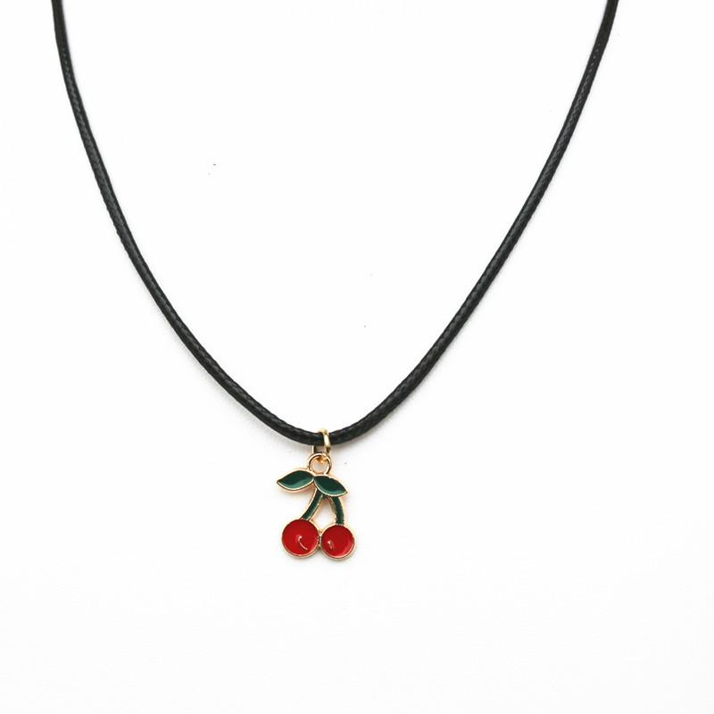 Cherry Pendant Necklace PU Leather Cord String Short Chain Necklace For  Women Handmade Jewelry Wholesale UK 2019 From Homejewelry 730d4cba51d6