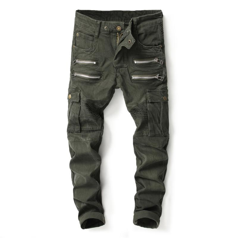 8a101dcffbbdf 2019 Army Green Fashion Men Jeans Big Pocket Cargo Pants Style BalBrand  Straight Fit Punk Streetwear Biker Jeans Men From Merrylady