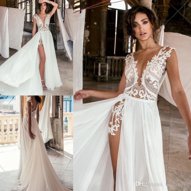 Grosshandel Julie Vino Strand Split Brautkleider Sexy V Ausschnitt