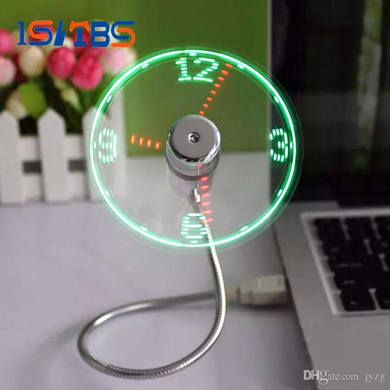 USB Time Fan Gadget Mini Flexible LED Light USB Fan Time Clock Desktop  Clock Cool Gadget Time Display High Quality