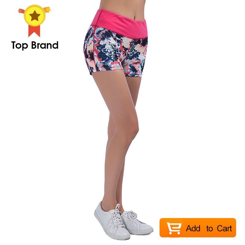Women Yoga Shorts Gym Fitness Print Running Panties Sport