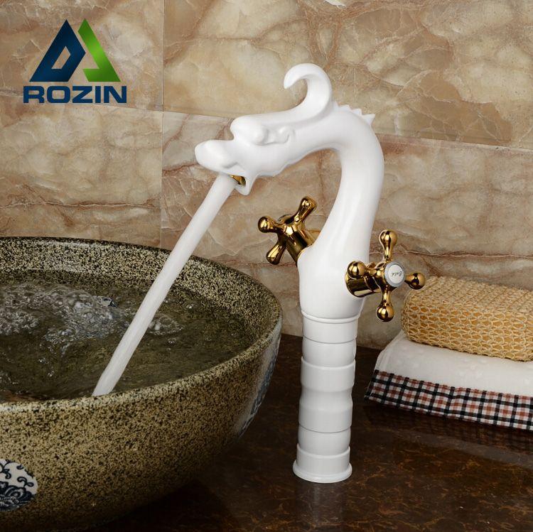 2018 White Brass Countertop Tall Basin Faucet Deck Mount Bathroom ...