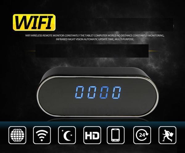 1080 P Cámara de visión nocturna Reloj P2P WIFI mini cámara IP Reloj despertador Cámara Vista en tiempo real Grabadora de video Reloj Monitor de bebé 160 Gran angular