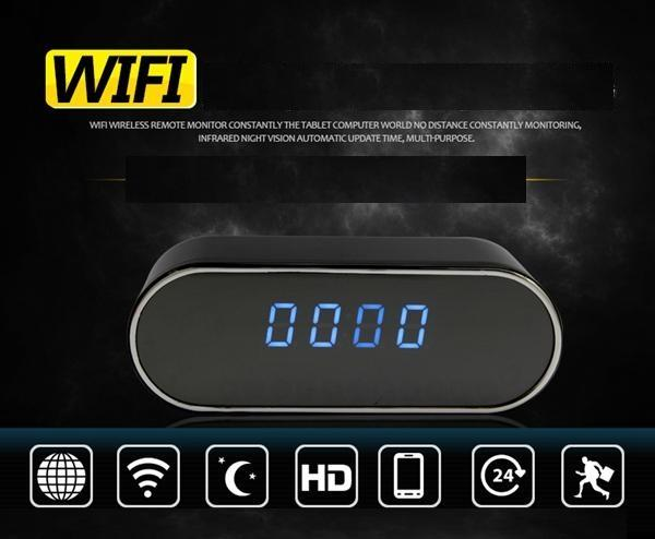 1080p vision nocturne caméra d'horloge P2P WIFI mini caméra IP réveil caméra en temps réel Voir enregistreur vidéo horloge bébé moniteur 160 Grand Angle