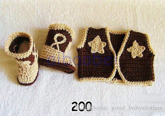 Novas roupas de Bebê Botas de Cowboy e Colete Conjunto Padrão de Crochê Traje Infantil Outfit Malha Recém-nascidos Chapéus Fotografia Foto Prop