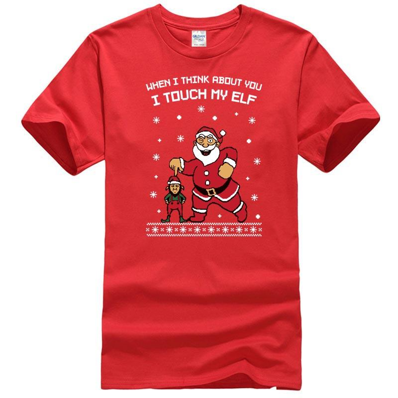 6b95bf1a5 I Touch My Elf Ugly Christmas Sweater T Shirt Xmas Gift Cartoon Print Short  Sleeve T Shirt Print T Shirt Men Summer Style Retro T Shirts Tshirt Designs  From ...