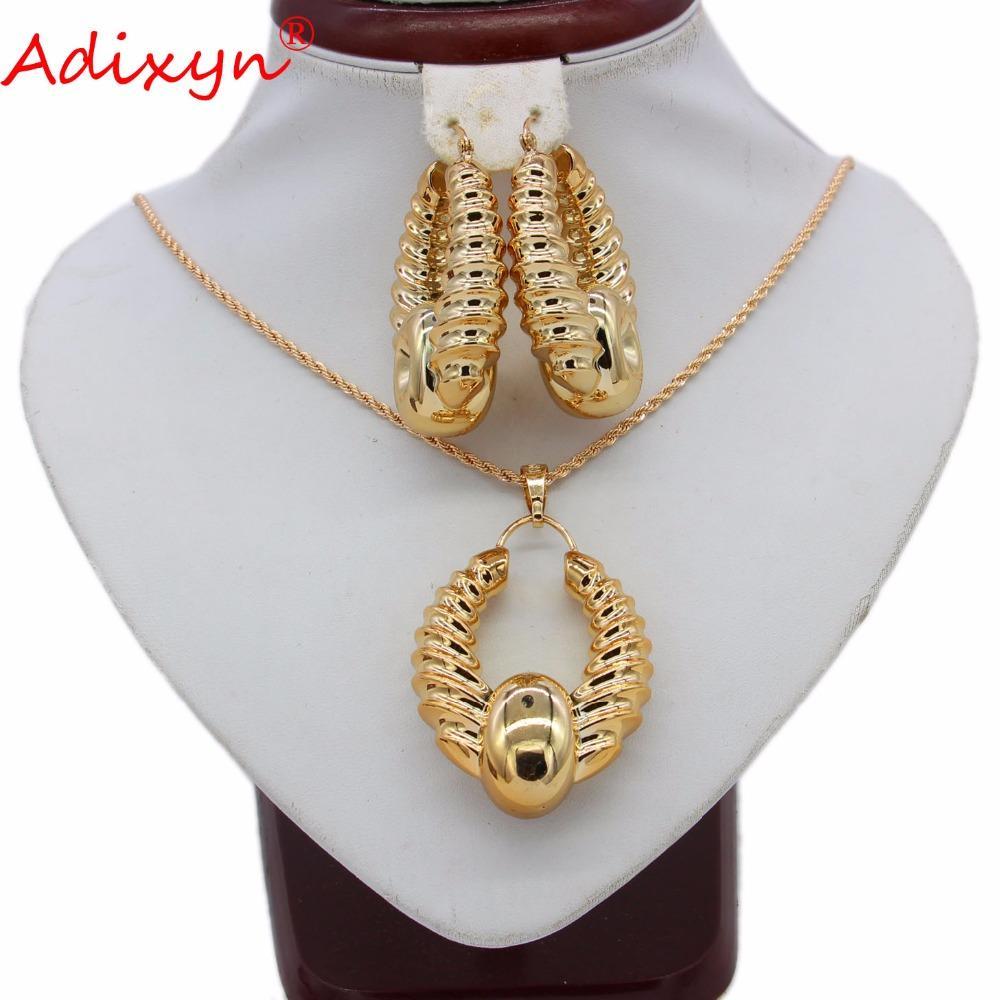3d60a49f2f24 Adixyn Pendientes Tradicionales / Collar / Colgante Conjunto de Joyas Oro  Rosa Color Nigeria / Africano / India Mujer Joyería de Boda N05249