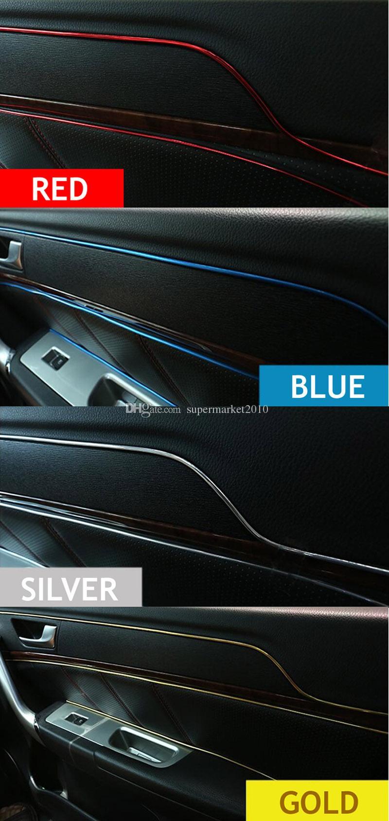 5Meters 자동차 인테리어 트림 스티커 스트립 데칼 줄무늬 자동차 성형 트림 장식 라인 데칼 트림 자동 도어 대시 보드 공기 출구 스티커