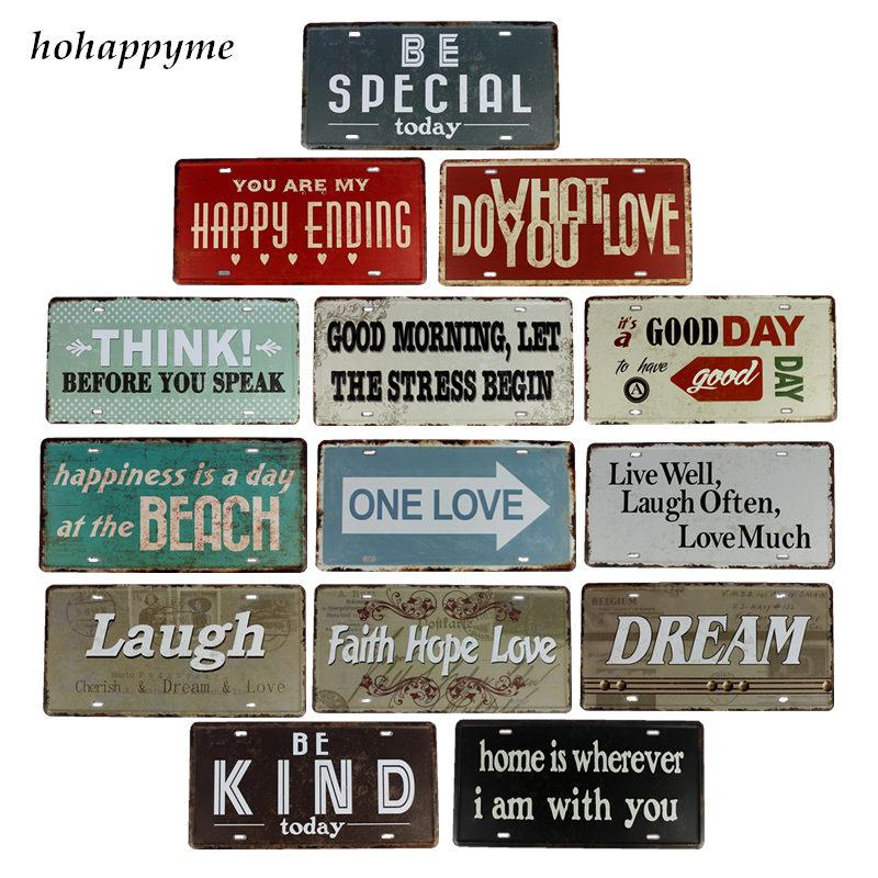 Hohappyme Laugh Life Motto Tin Signs Bar Pub Cafe Home House Wall ...