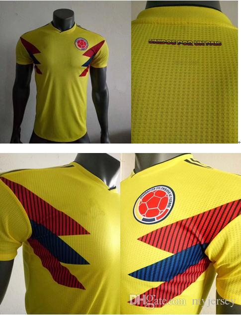 timeless design b42fb 3a636 PLAYER VERSION Colombia Soccer Jerseys 2018 World Cup Jersey 10 JAMES 9  FALCAO 11 CUADRAD 8 AGUILAR Away Blue Home Yellow Football Shirt