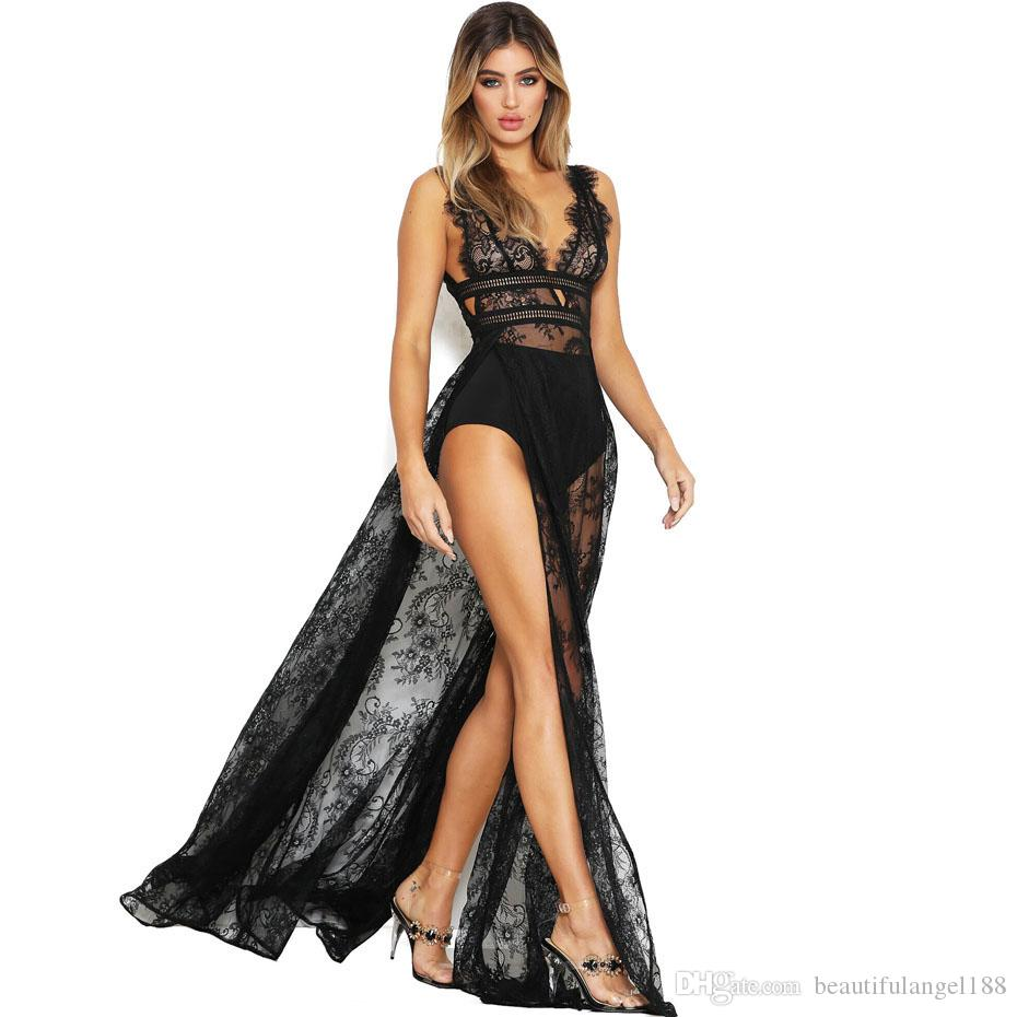 Sexy Lace Maxi Dress Backless See Through Summer Boho Beach Dress Night Club Robe Women Side Slit Long Party Dresses