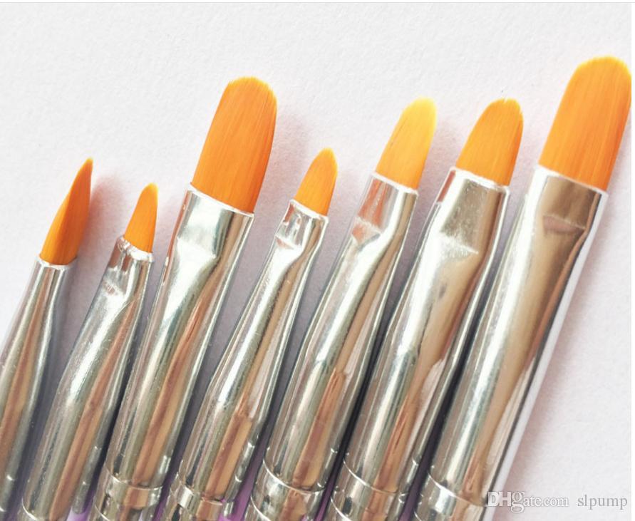 7 unids Nail Art Brushes Set de Herramientas de Cepillo de Pintura púrpura Mango Plumas de Pintura UV Gel Dibujo de Pintura de Esmalte de Uñas