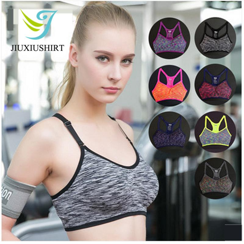 4f320ff348bf0 2019 Women Sexy Fitness Yoga Sports Bra Running Gym Adjustable Spaghetti  Strap Padded Top Seamless Shockproof Bra Athletic Vest S M L From Jinzoug