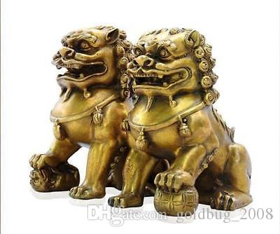 Collectibles Chinese fengshui Bronze Guardian Door Phylactery Foo Dog Lion Statue Pair