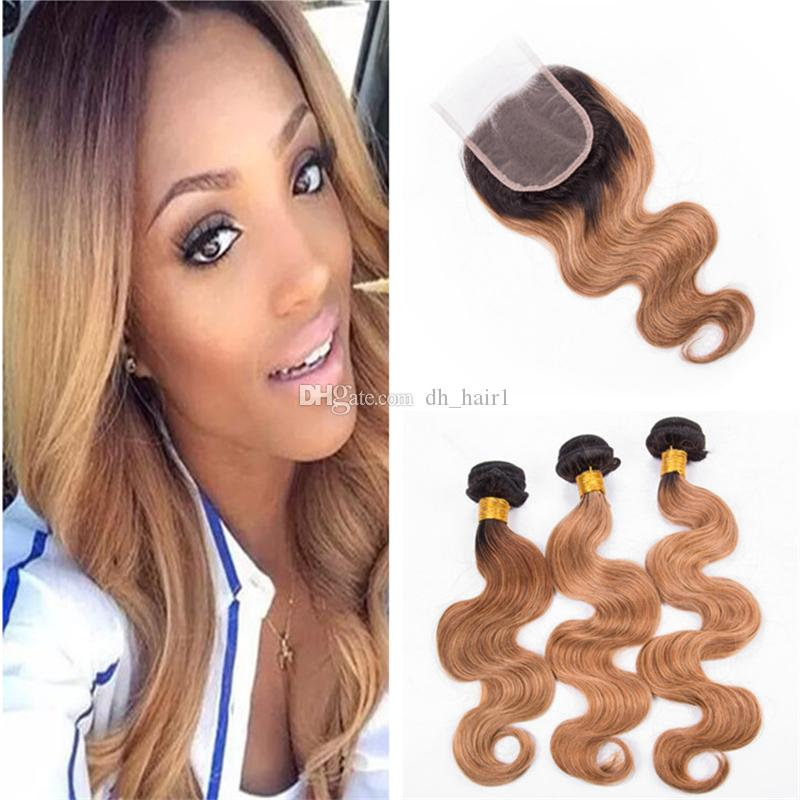 Two Tone 1B 27 Honey Blonde Ombre Closure and Bundles Brown Blonde Ombre Peruvian Body Wave Human Hair Weave with Lace Closure