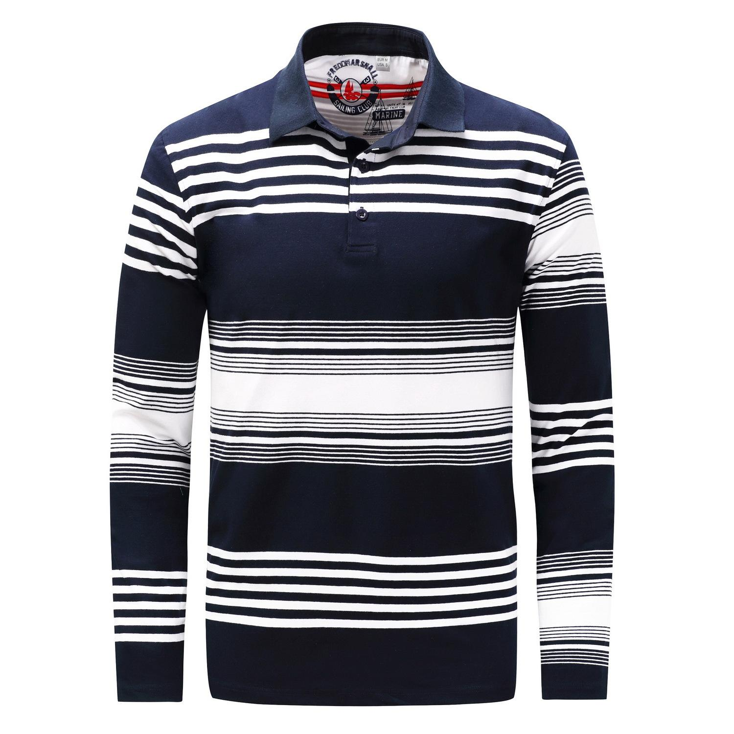 Autumn And Winter Loose Size Mens Long Sleeve Polo Shirt Mens Coat Lapels Cotton Polo T Shirt Male Fashion Stripped Tees