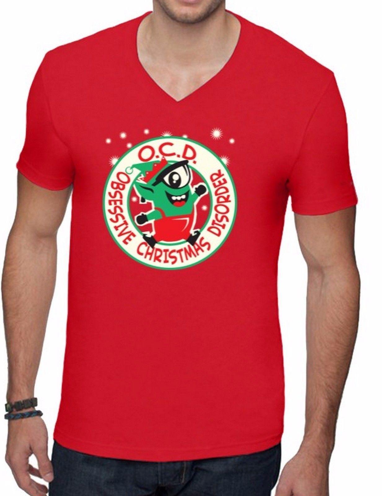 Ocd Obsessive Christmas Disorder Men V Neck T Shirt Ugly Christmas ...