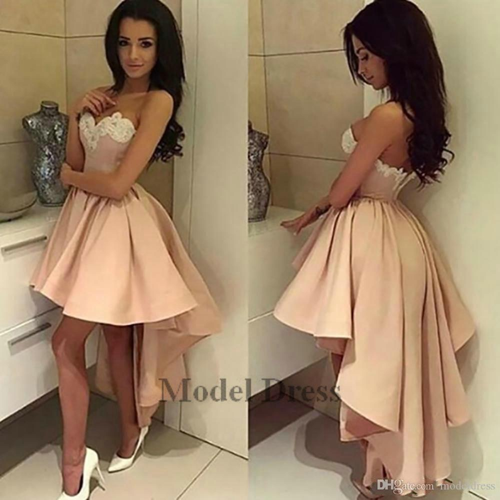 Sexy Blush Pink High Low Prom Dresses Short Front Long Back Lace Appliques  Sweetheart Strapless Elegant Girls Graduation Dresses Evening Prom Dress  With ... 7d0c332f8989