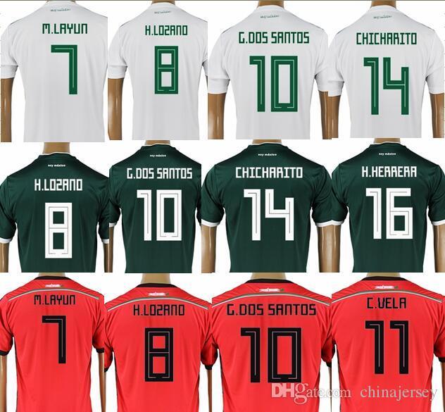 cb100ec9054 Mexico Soccer Jersey 2018 World Cup 14 CHICHARITO 8 H.LOZANO 10 G.DOS  SANTOS Football Shirt R.MARQUEZ A.GUARDADO M.LAYUN Camisetas De Futbol Soccer  Jerseys ...