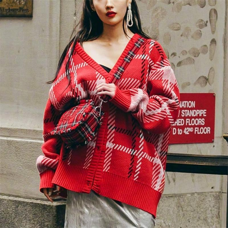 823d93f208 Red Plaid Knitted Sweater Coat Women Loose Cardigans Loose Designer Runway Jumper  Knitted Jacket Autumn Winter Clothing Q107 Cardigans Cheap Cardigans Red ...