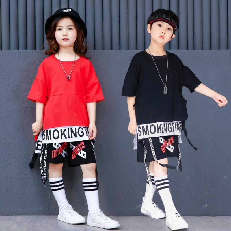 49e585d4a9ffa 2019 Teen Boys Hip Hop Clothes Plus Size Korean Black Red Big Boys Short  Sleeve Streetwear T Shirt Tops And Shorts For Summer From Xunqian