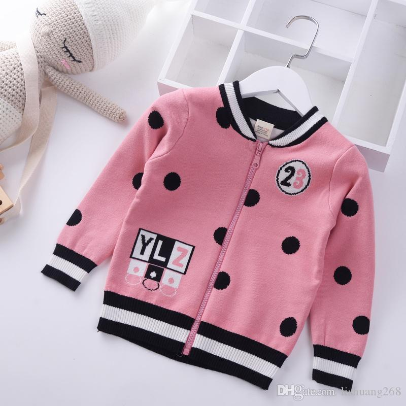 8771e5915e9b 2018 Autumn Winter New Girls Sweaters Zippers Coat Baby Cardigan Dot ...