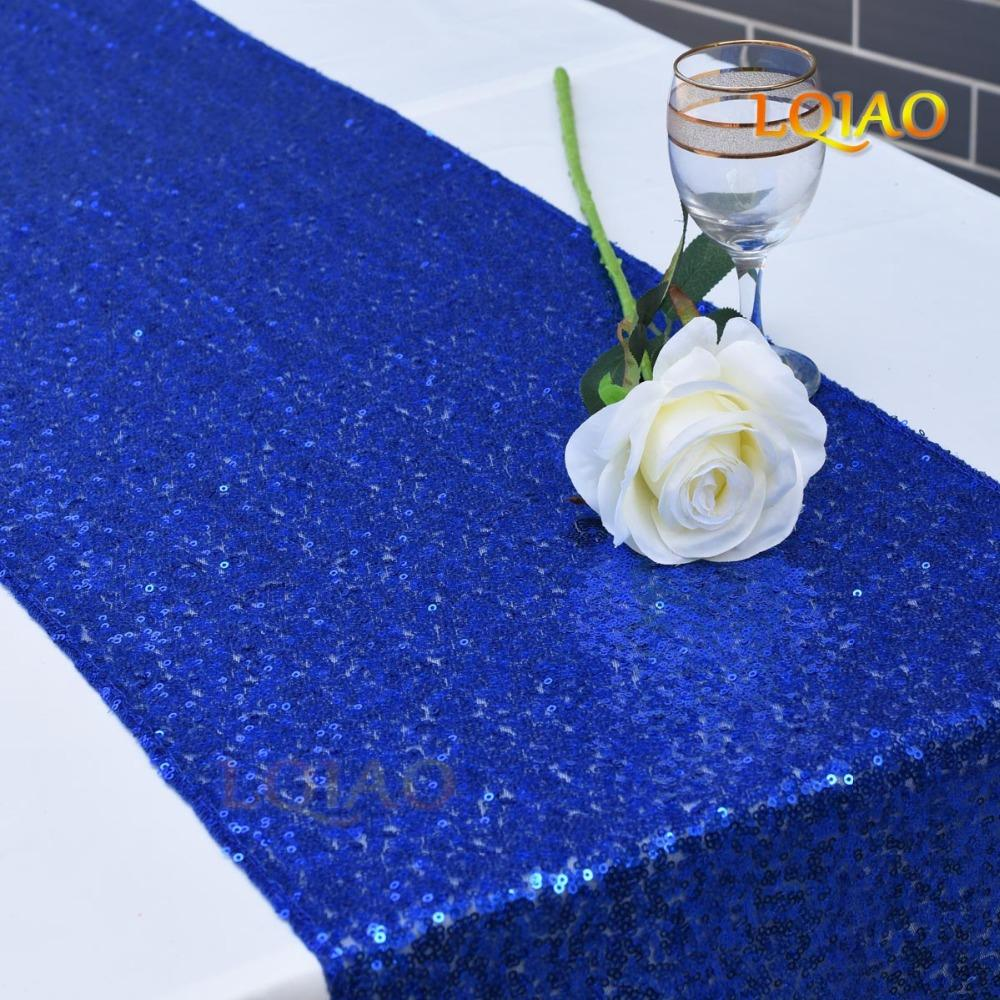 3MM Sequin Table Runner Elegant Royal Blue Table Flag Party Supplies Fabric Decoration For Home Wedding Birthday Baby Shower