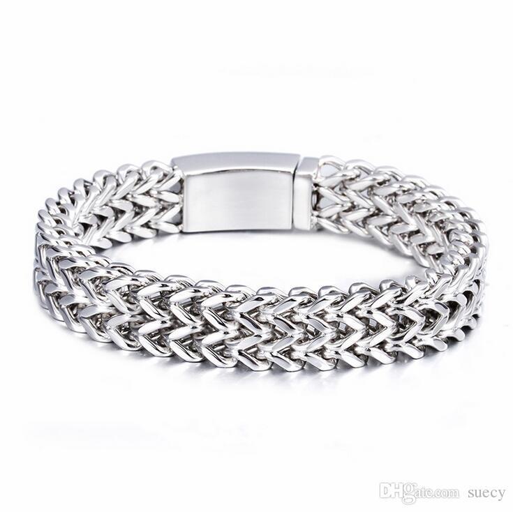18mm nuovo marchio punk biker bracciale uomo gioielli gioielli regalo mens bracciali braccialetti in oro argento bracciale in acciaio inossidabile