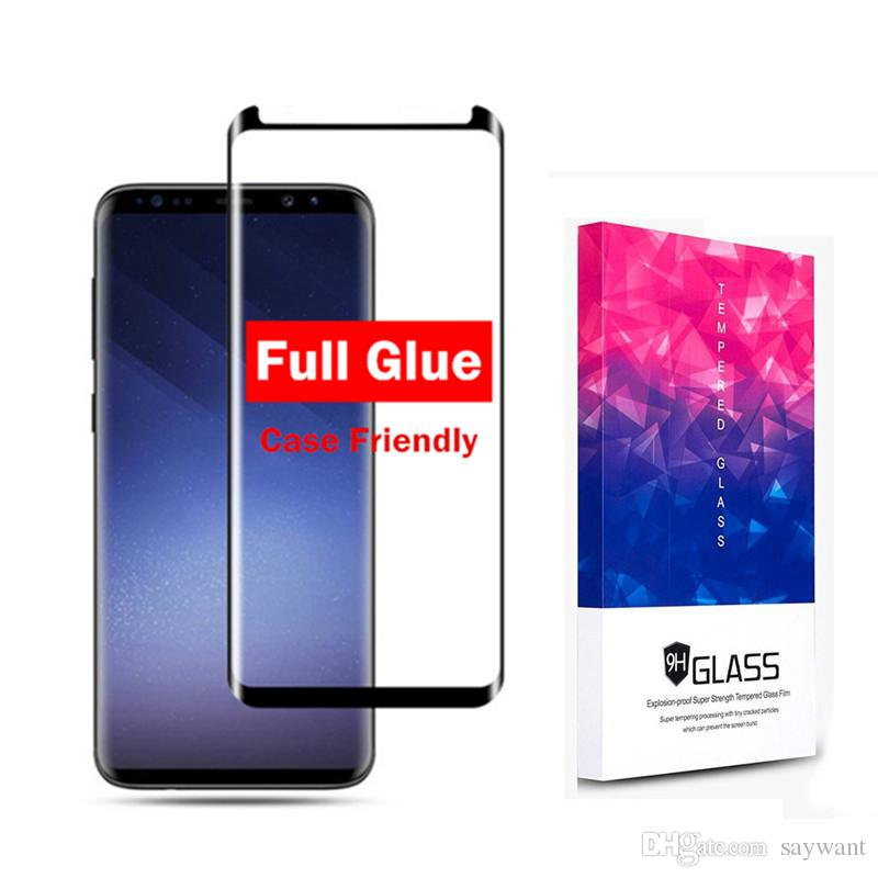For Samsung Galaxy S9 S8 Plus 3D Full Glue Curved Tempered Glass Screen  Protector Film for Note 8 S7 Edge With Retail Package