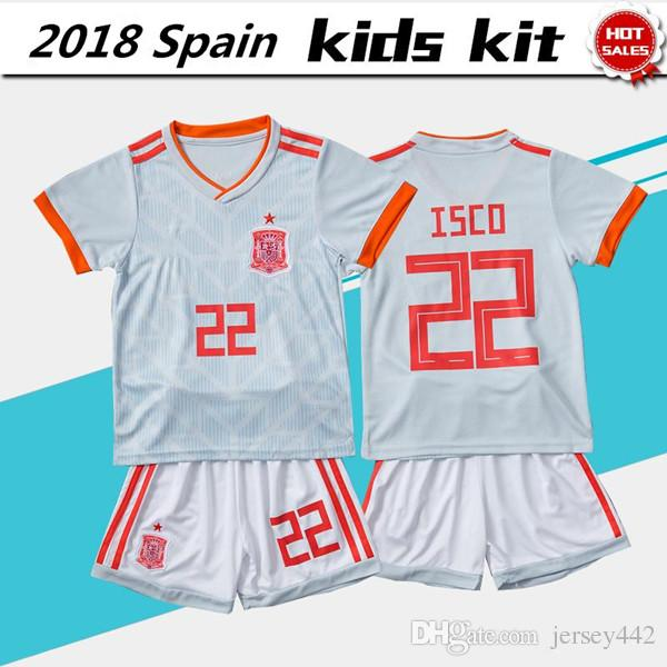 2c007e5d5 2018 World Cup Spain Soccer Jersey Kids Kits España Niño Away White ...