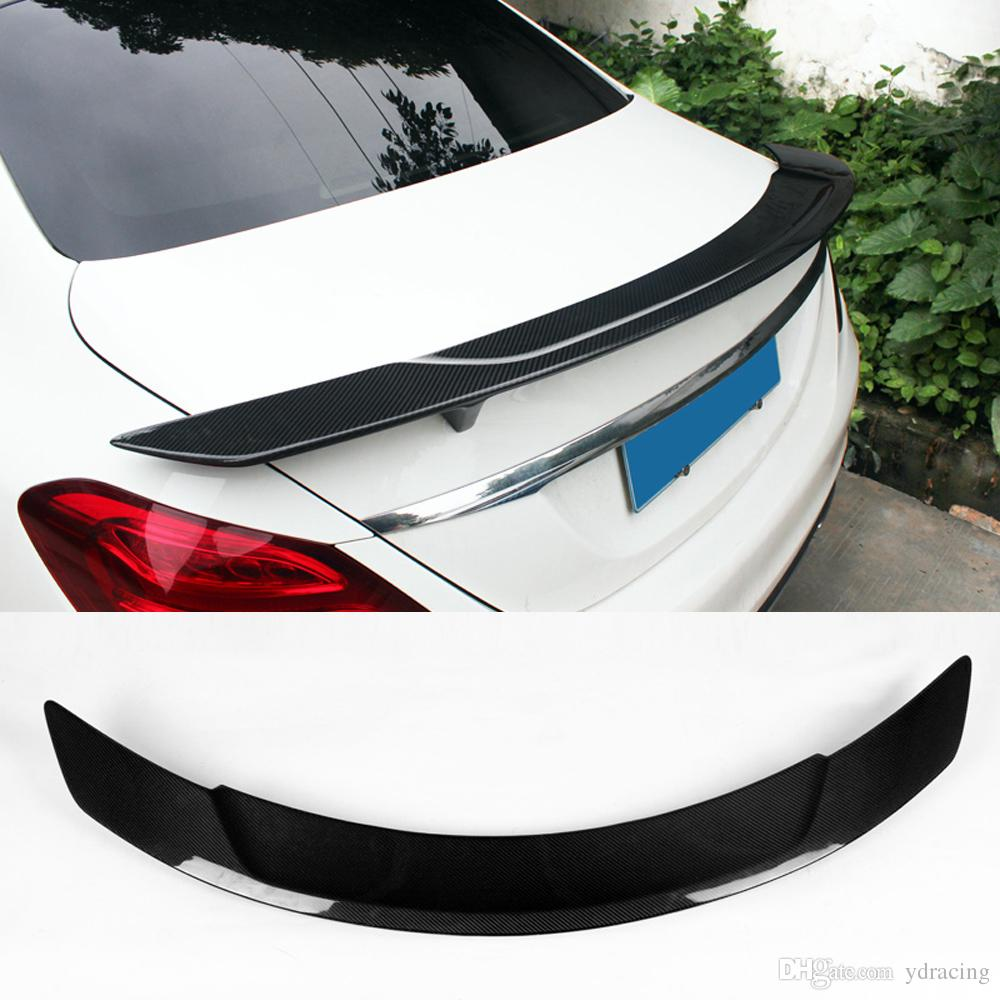 RT Styling Carbon Fiber Glossy Car Trunk Rear Spoiler Wings Lip For Benz  C-class W205 Spoiler C200 C250 C300 4-Door 2015-2017