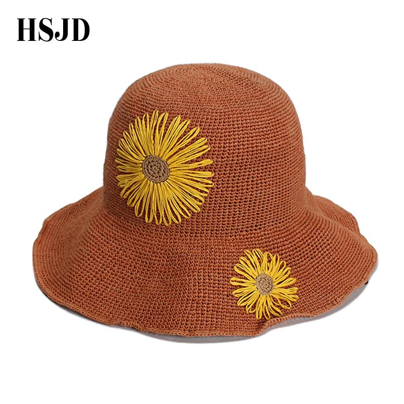 f61a8af5e Cute Sunflowers Handmad Straw Beach Hat Girl Wide Brim Foldable sun caps  Flower panama straw fedora women s travel hats Gift