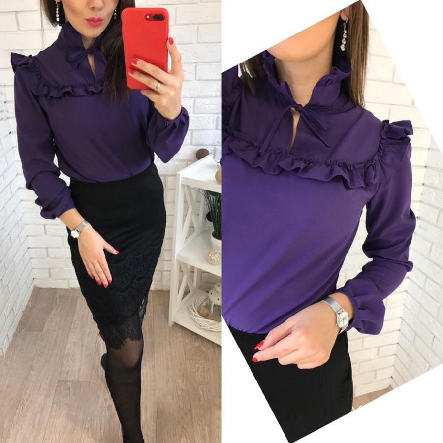 671074ee1644 2018 nuevas mujeres del verano púrpura Party Tops blusa moda volantes de  manga larga Casual camisa floja de la señora de la blusa más el tamaño