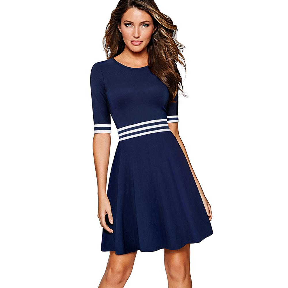 2019 Women White And Dark Blue Striped Patchwork Half Sleeve Tunic Vintage  Casual Work Party Fit And Flare A Line Skater Dress EA059 Y1891104 From ... f7db53fe4