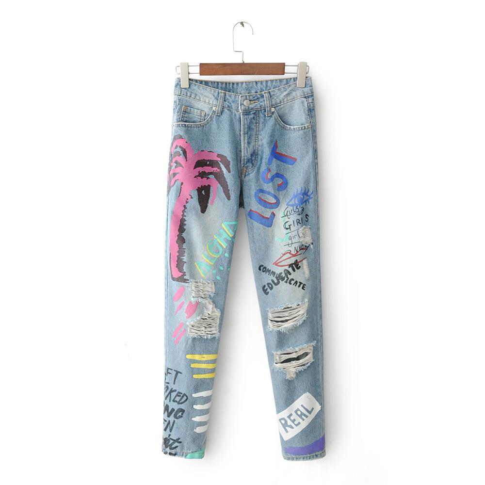 433d6dc324b5 2018 New Graffiti Hole zerrissene Jeans Frauen Harem Hose lose  knöchellangen Hosen Boyfriends For Woman Damen Skinny Jeans
