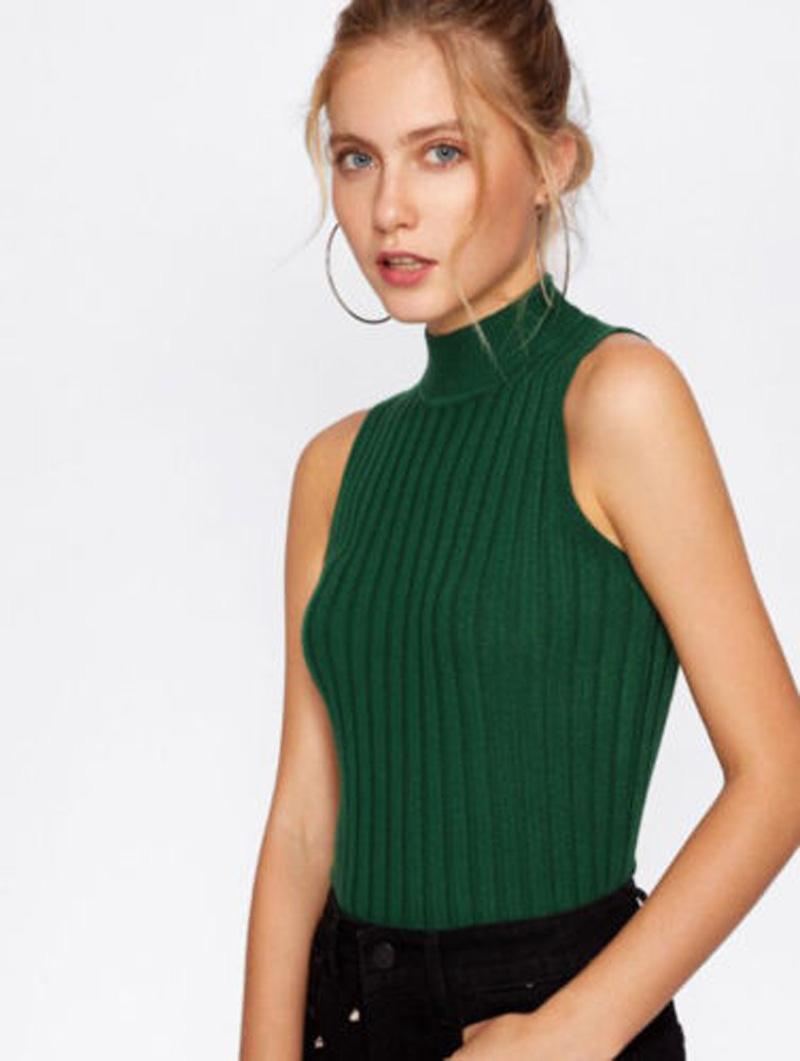 c2fbb28edf 2019 Sexy Women Summer Clothing Sleeveless Tank Crop Tops Casual Turtleneck Knitted  Vest Shirt Blouse Top From Benedica, $37.17 | DHgate.Com